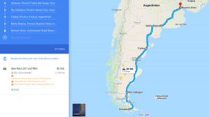 Ushuaia to Buenos Aires Route