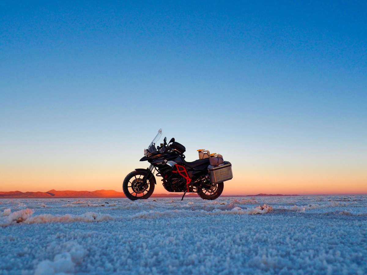 It is getting dark in the Salar de Uyuni in Bolivia