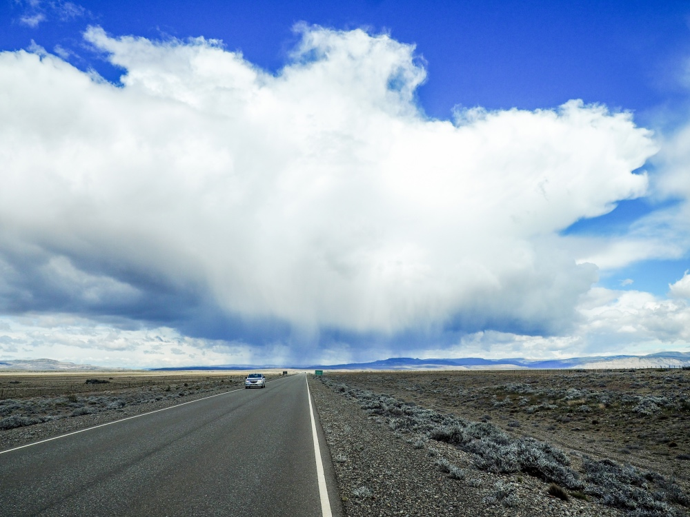Rain clouds over Ruta 40 in Argentina